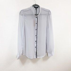 Sanctuary Lrg Gray Sheer Long Sleeve Blouse 0569